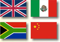 Flags of the four countries